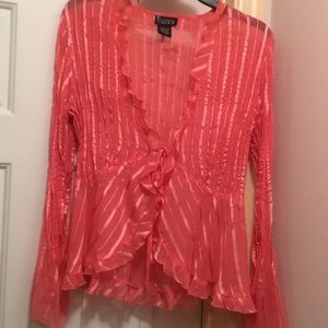NY collection Sheer blouse w/Tie front closure L